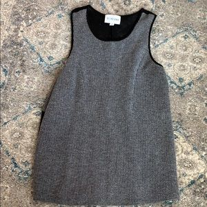 Gray vertical lined gray top with sheer back
